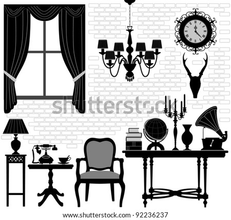 Old Grandfather Room Antique Retro Living Hall Furniture - stock vector