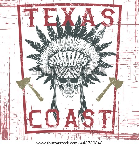 Old graphic label with skull of injun .Hand drawn style.Typography design for t-shirts.Texas coast.Vector illustration - stock vector