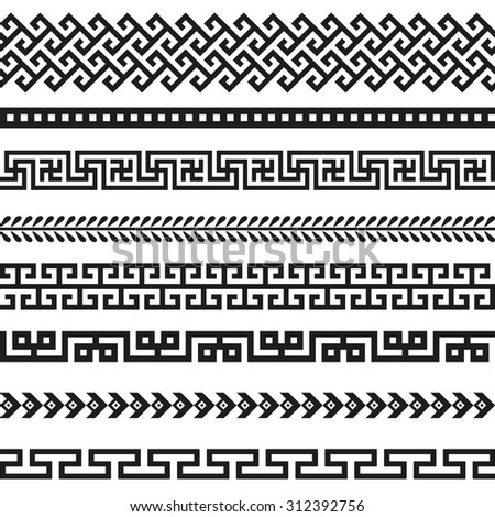 Old greek border designs  - stock vector