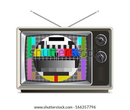 Old Grey Retro Style TV with Test Pattern on the Screen, isolated on White/Retro TV with test screen - stock vector
