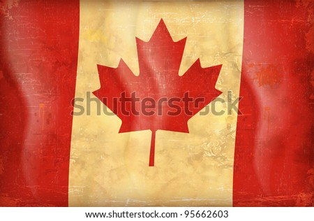 Old grunge flag of canada background vector
