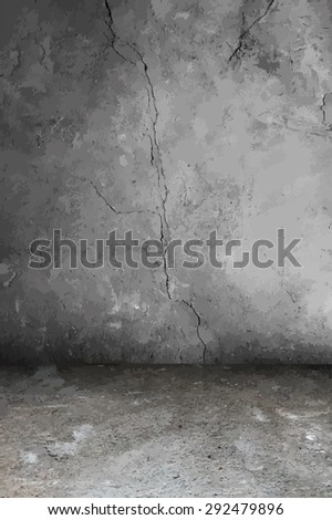 old grunge interior, vector - stock vector