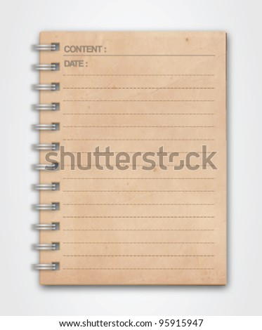 Old Grunge Notebook Vector - stock vector