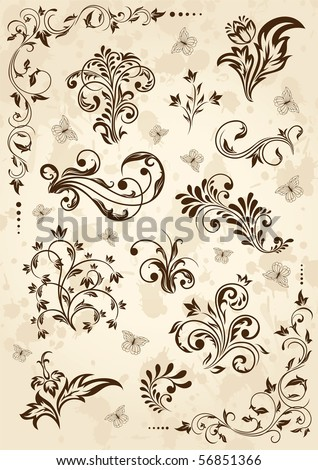 Old grunge paper with floral elements, illustration