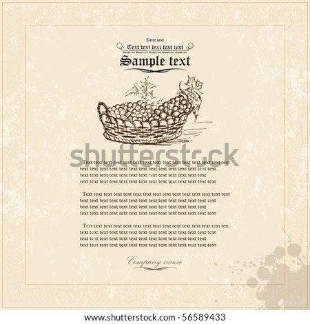 Old grunge paper with floral elements. Vector - stock vector