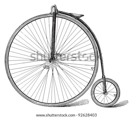 Old high wheel bicycle / vintage illustration from Meyers Konversations-Lexikon 1897 - stock vector