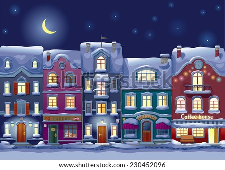 Old historical houses, shops and cafe at the snow-covered city street at midnight - stock vector