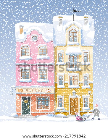 Old historical houses, shops and cafe at the snow-covered city street under snowfall - stock vector