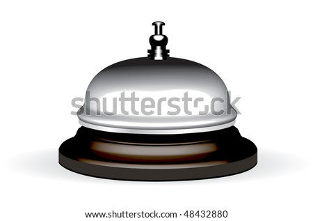 old hotel bell on a wood stand vector illustration - stock vector