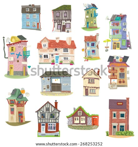old houses with solar panels with water collector on the roof and usual houses - cartoon - stock vector