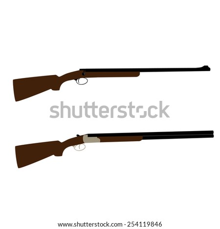 Old hunting rifle and shooting shotgun vector set isolated, military weapon - stock vector