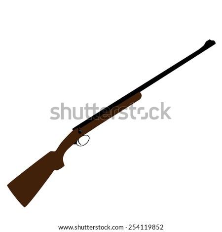 Old hunting rifle vector, sniper rifle, shotgun shooting, military weapon - stock vector