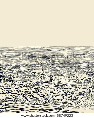 Old illustration of water - stock vector