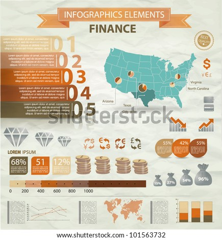 Old infographics set. USA Map and Information Graphics with finance icons.Easy to edit - stock vector