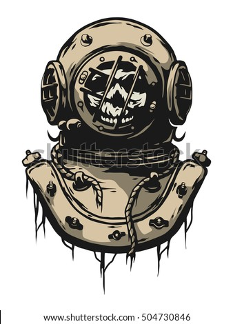 Old iron diving helmet.
