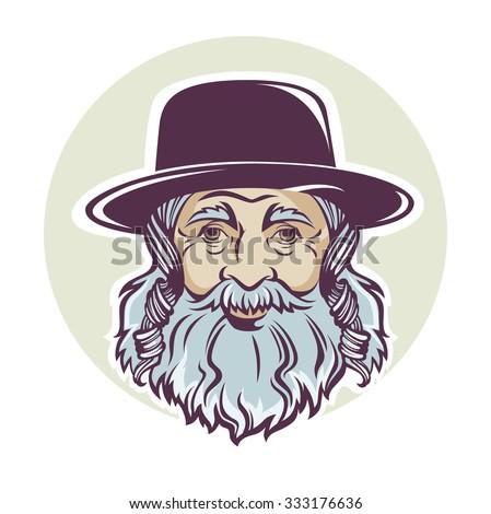 old Jewish man, vector portrait or avatar - stock vector