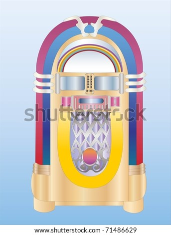 old jukebox ( background on separate layer ) - stock vector