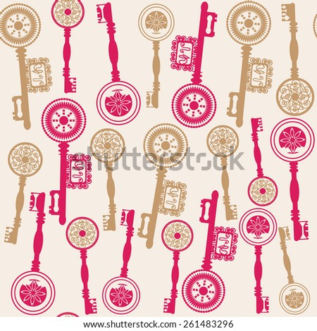 Old keys seamless pattern and seamless pattern in swatch menu, vector illustration. Vintage backdrop. Colorful image