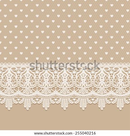 Old lace vintage background. Template card with lace border ribbon. Can be used for packaging, wedding, invitations, Valentine's Day decoration or other celebrations, bag template, prints. - stock vector