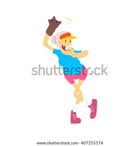 Old Lady Playing Baseball Cute Cartoon Style Isolated Flat Vector Illustration On White Background