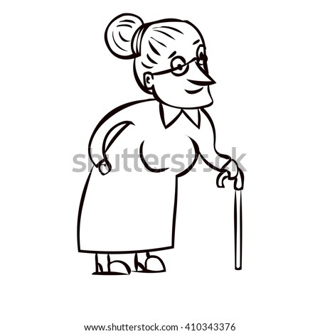 Elderly Woman Walking Drawing