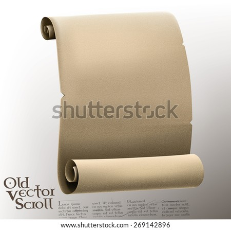 Old leather manuscript vector scroll, - stock vector