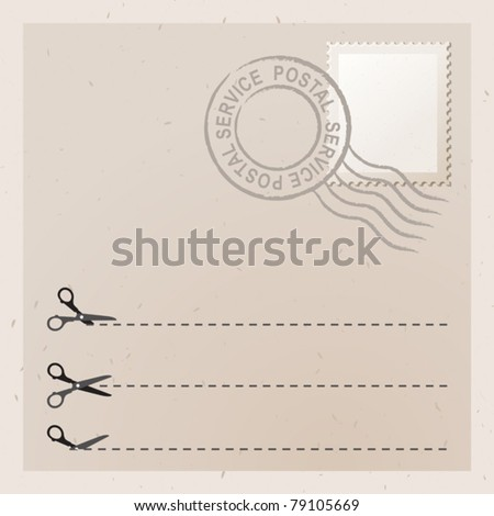 Old letter with stamp. Scissors with cut lines - stock vector