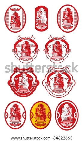 Old locomotive, emblems 2, vector - stock vector
