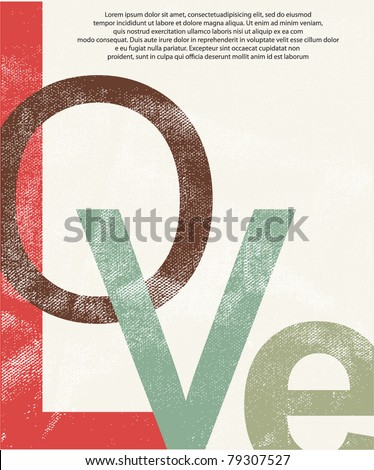 Old love print background - stock vector