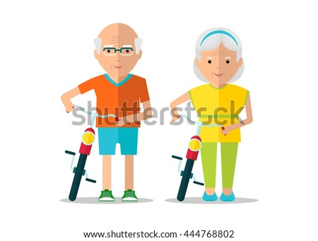 Old man and old woman walking with bikes. Healthy active lifestyle. Sport for grandparents. Objects isolated on a white background. Flat vector illustration. - stock vector