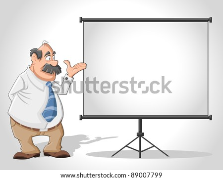 Old man and white billboard with empty space. Presentation screen . - stock vector