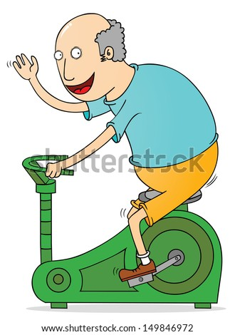 old man exercising - stock vector