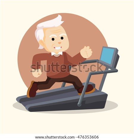 old man fit running with treadmill