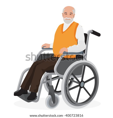 Old man grandfather disabled in wheelchair isolated on white - stock vector