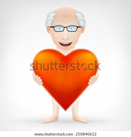 old man holding his big red heart and looks for love concept vector graphic design isolated on white background - stock vector