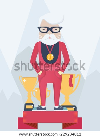 Old man on a winners podium in sport standing wearing a champions gold medal with golden trophies with winter mountains behind, vector cartoon figure - stock vector