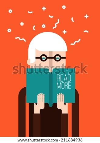 Old man reading a book - stock vector