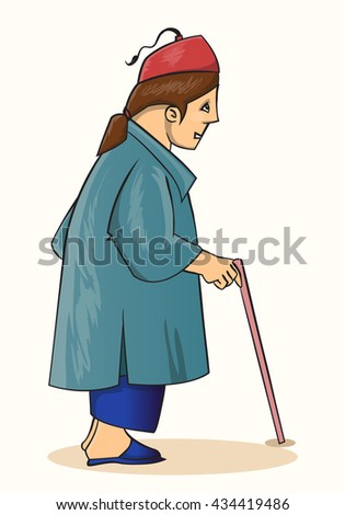 old man side view standing with stick cartoon vector illustration - stock vector