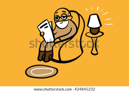 Old man sitting in rocking chair and reading newspaper. Vector illustration. - stock vector