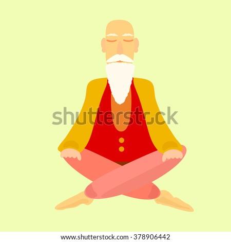 Old man sitting . Vector illustration - stock vector