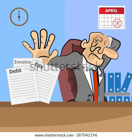 old man Stressed Businessman Sitting At Office With tax invoice and debt - stock vector