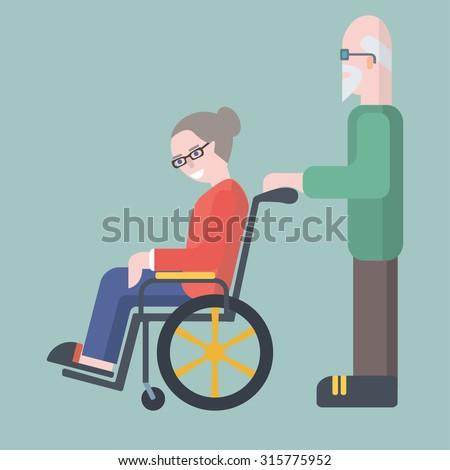 Old man take care of elderly woman on wheelchair, elderly family couple, vector illustration - stock vector