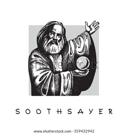 Old man with a beard and Crystal ball. Soothsayer.  Vector black and white image on gray square frame.
