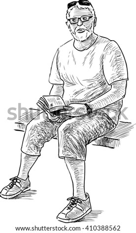 old man with a book - stock vector