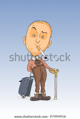Old man with a cigarette in mouth and stick in the hands - stock vector