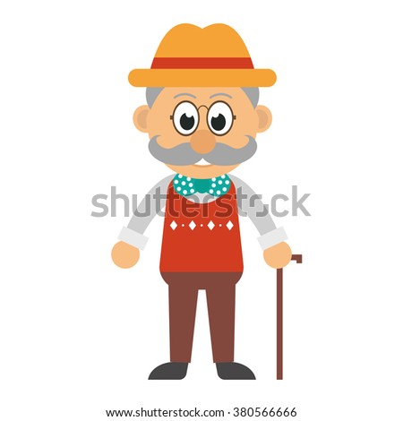 old man with a stick - stock vector
