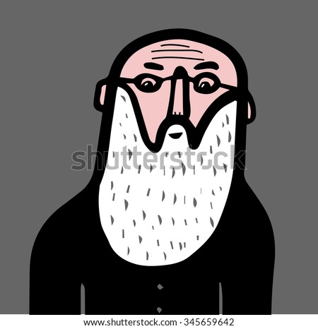 old man with glasses and beard - stock vector
