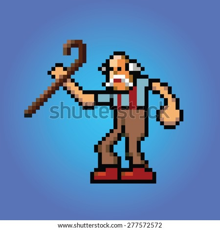 old man with stick in hand pixel art style illustration vector isolated - stock vector