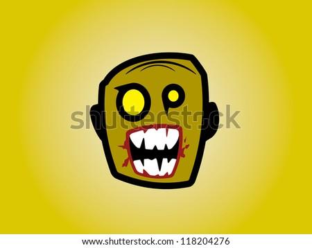 Old Man Zombie Head. - stock vector