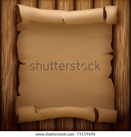 Old manuscript on wooden table (vector illustration) - stock vector